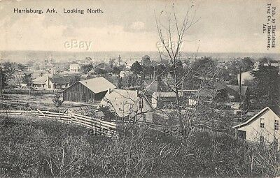 Vintage Postcard Harrisburg Arkansas 1910 Litho Drug Co Ark Birdseye View Early
