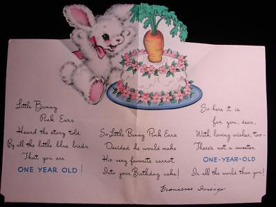 "Vintage ""little Bunny Pink Ears Story - Pop-Up!!"" Birthday Greeting Card"