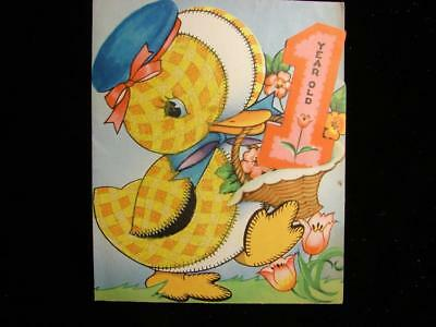 "Vintage ""gay Little Calico Duckling Merrily Quacking!!"" Birthday Greeting Card"