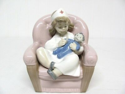 NAO PORCELAIN by LLADRO FIGURINE B-28 MY 2001055 1055 LITTLE GIRL PLAYING NURSE