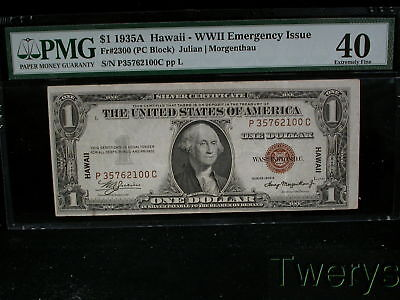 1935A Wwii Hawaii $1 Silver Certificate Emergency Issue Pmg 40 Extremely Fine