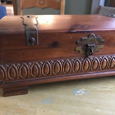 Wooden Vintage Treasure Box Cedar Wood Brass Accents Pirate's Booty