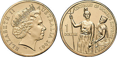 Australian  $1 One Dollar Coin 2003 for the Centenary of Womens Suffrage
