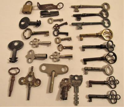 Keys Lot 28 pc. Clock Barrel Skeleton Cabinet Door Padlock Toy Vintage Antique
