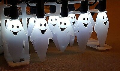 "HALLOWEEN 20 LIGHTED GHOST String LIGHTS Indoor / Outdoor 6"" length  NEW!"