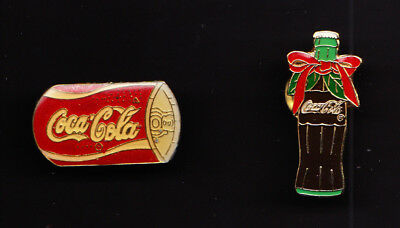 Vintage Coca Cola Soda Can and Bottle Lapel Hat Pins (1 Can Pin, 1 Bottle Pin)