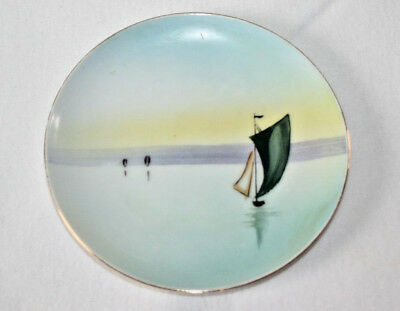 Vintage Small Meito China Plate Hand Painted-Japan Sailboat