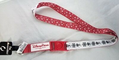 Disney Parks Winter Holiday Christmas Castle Snowflake Reversible Lanyard NEW