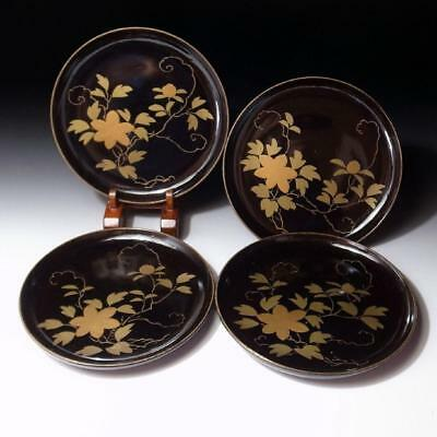 CC5: Vintage Japanese 4 Lacquered Wooden Plates, MAKIE, Flower