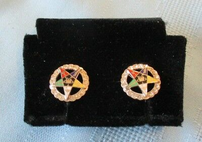 Vintage Woman's Masonic Eastern Star Rhinestone Earrings