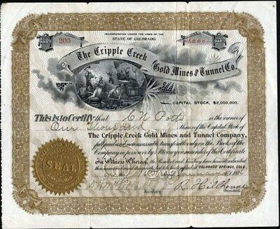 Cripple Creek Gold Mines And Tunnel Co, 1896, Uncancelled Stock Certificate3