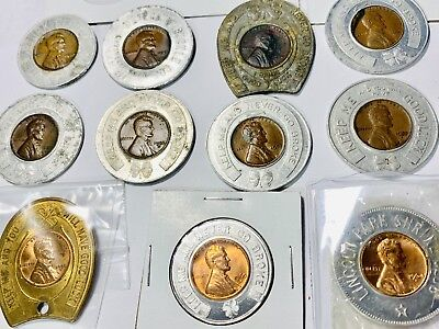 "11 Coin Encased Collecltion Of Go ""Lucky"" Token(s) 1937-1964 - Estate"