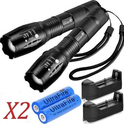 2X Tactical Ultrafire Flashlight T6 High Power 5 Modes Zoom Focus&18650*Battery