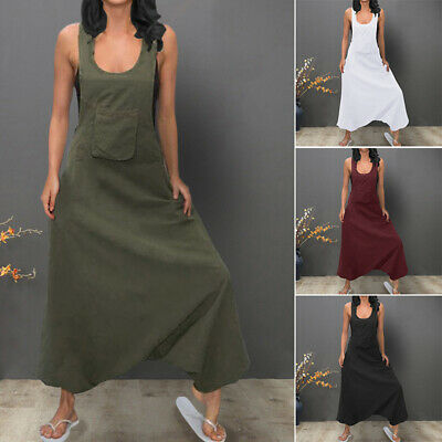 ZANZEA 8-24 Women Sleeveless Bib Pants Harem Trousers Jumpsuit Playsuit Overalls