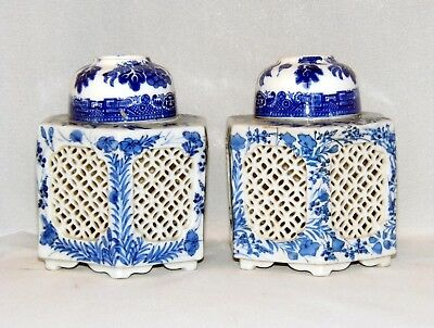 A Pair Of Antique, Chinese Hand Painted Porcelain, Reticulated Ginger Jar's.