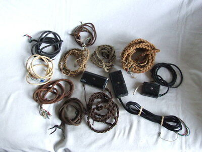 11 VARIOUS CORDS + 3 x INLINE BOXES FOR  BAKELITE TELEPHONES