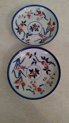 Pretty Pair Old Chinese/Japanese Imari style saucers