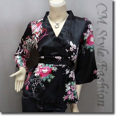 * Japanese Kimono Silky Satin Crossover Back Tie Blouse Top Black XL