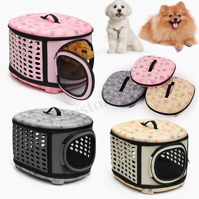 Large Foldable Pet Puppy Dog Cat Travel Mesh Bag Carrier House Kennel Cage Tote