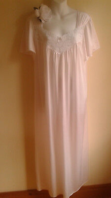 "VINTAGE NYLON NIGHTGOWN L softest pale pink French maid  Canada large 46"" XL"
