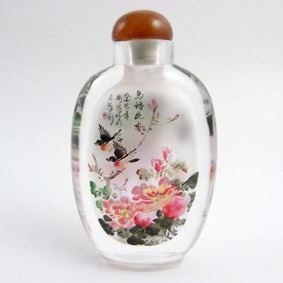 Large Chinese Inside Painted Crystal Glass Snuff Bottle, Signed By The Artist