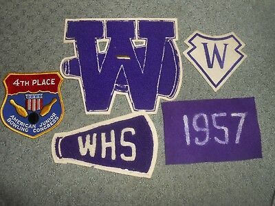 1950s Watertown High School NY Letterman Patches Megaphone + American Jr Bowling