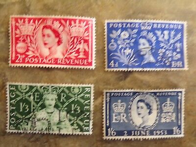 GB 1953 set of Queen's Coronation : used SG 532-535