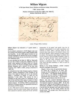 GB Free Front 1826 signed W Wigram, MP New Ross & Wexford, with research