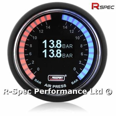 Prosport 52mm Premium Dual Air Pressure Suspension Gauge Red / Blue Display Bar