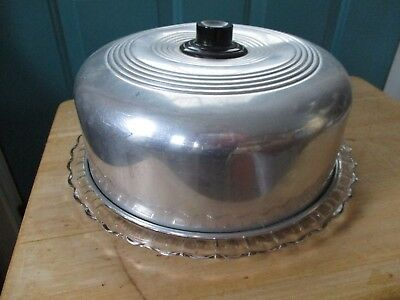 Vintage Clear Glass Cake Saver Plate with Aluminum Lid Bakelite Handle