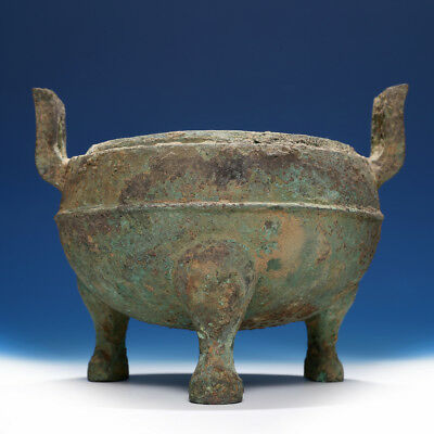 Valuable Archaic Chinese Han Dynasty Ritual Bronze Tripod Vessel Ding SA92