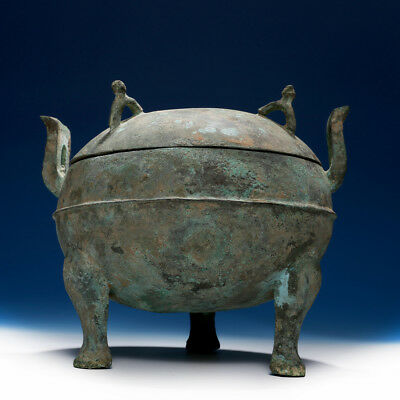 Rare Chinese Antique Han Dynasty Ritual Bronze Tripod Vessel Storage Ding HB35