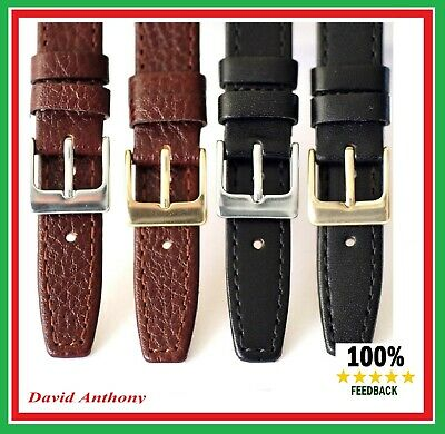15mm 17mm 19mm BLACK or BROWN,QUALITY SOFT GENUINE CALF LEATHER WATCH STRAP L2-7