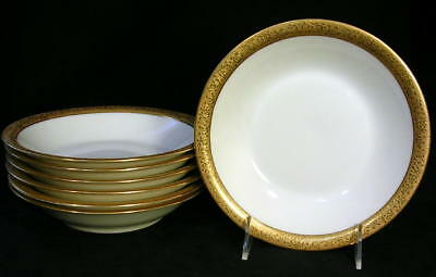 THEODORE HAVILAND Limoges, France (7) Gold Encrusted Soup Cereal Bowls ROSES