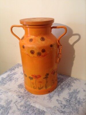 Vintage French Decorated Milk Churn, Plant Stand - Hand Painted, Decoupage (2456