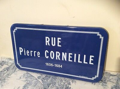 French Enamel Street Sign, Road Name Plaque - Rue Pierre Corneille (1767)