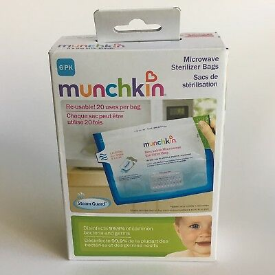 6 packs Munchkin Re-usable Microwave Sterilizer Bags = 24