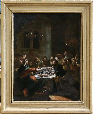 17th CENTURY LARGE  FRENCH OLD MASTER OIL CANVAS - THE LAST SUPPER - TO RESTORE