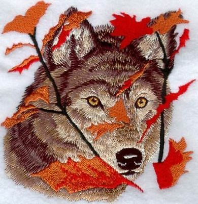 Embroidered Ladies Short-Sleeved T-Shirt - Autumn Wolf M1236 Size S - XXL