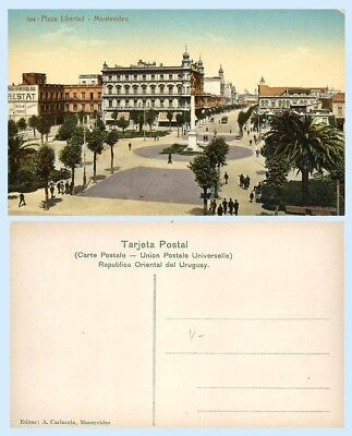 Aerial View Plaza Libertad Montevideo Uruguay Vintage Postcard - Buildings