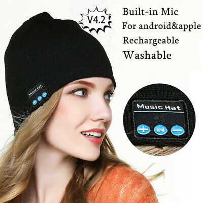 Wireless Bluetooth Smart Phone Speaker Portable Battery Washable Cool Beanie Hat