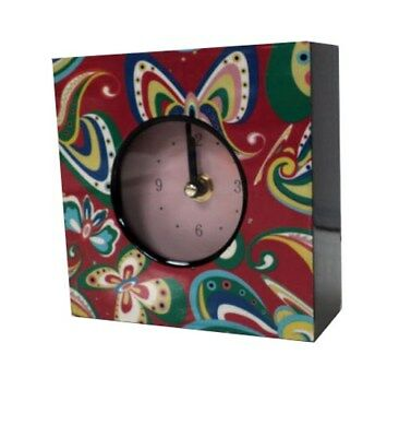 Job Lot of 6x Black + Red Desk Clock With Butterfly Design - Square, T5UX#