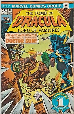 The Tomb of Dracula #42 Blade and Dracula vs Dr. Sun!! 4.0  MVS Stamp Intact!!