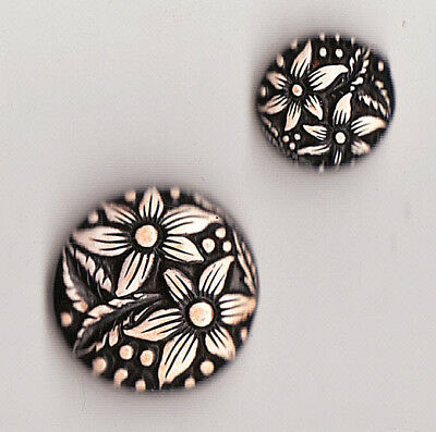 2 Buffed Celluloid Floral Button Mother & Daughter