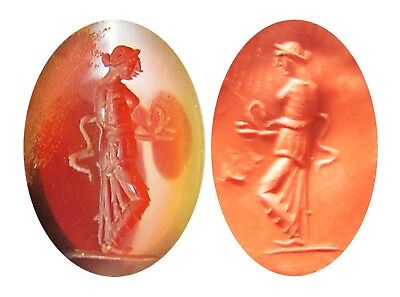Nice Georgian 18th century Classical Revival Glass Intaglio of Goddess Salus