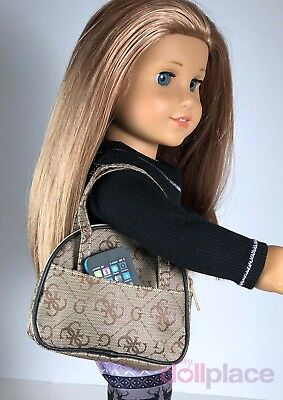 Purse & Phone for 18 inch American Girl Doll Accessories TAN Set Bag Tote