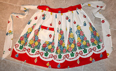 Vintage 1950's Christmas Half Apron, Colorful Tree With Ornament Design, Pattern