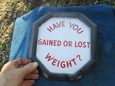 Vintage Watling Scale Co Coin Operated Scales Lost Or Gained Porcelain Sign