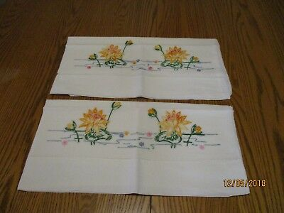"""Vintage  pillowcases with embroidered water lillies 32""""x19"""""""