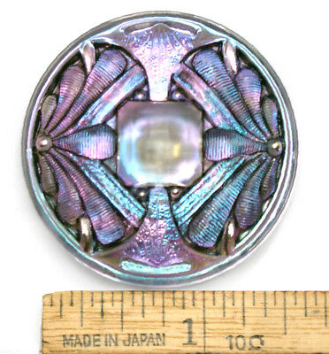 42mm Vintage Czech Glass Art Nouveau DOUBLE DRAGONFLY Lilac Blue AB Button 1pc